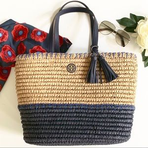 Tory Burch Straw Bag with Tassel Accent